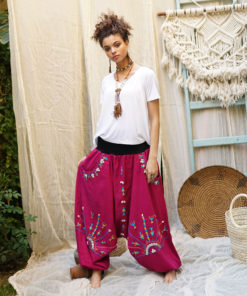 Fuchsia Siwa embroidered harem pants handmade & available at Jozee Boutique