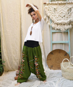Green Siwa embroidered harem pants handmade in Egypt & available at Jozee Boutique