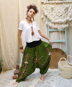 Green Siwa embroidered harem pants handmade & available at Jozee Boutique