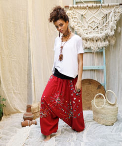 Red Siwa embroidered harem pants handmade & available at Jozee Boutique