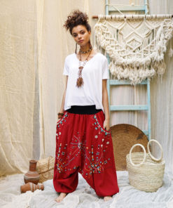 Red Siwa embroidered harem pants handmade in Egypt & available at Jozee Boutique